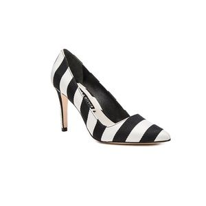 Alice + Olivia Dina 95 Black & White Stripe Heels